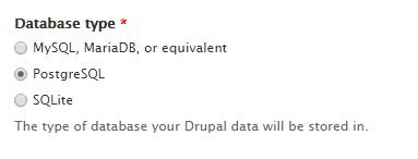 Drupal database type
