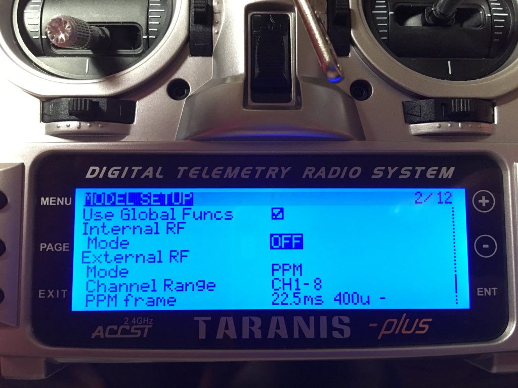 Inductrix Taranis Model setup